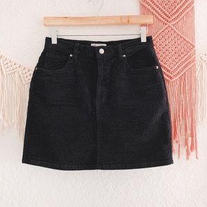 Zara Corduroy Black Ribbed Mini Skirt